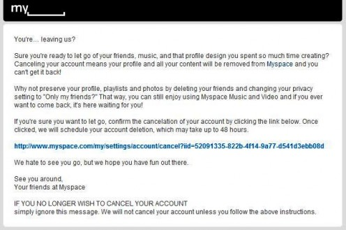 This is what the email will look like.  Click on the URL to go BACK to the Myspace site.