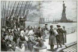 Irish immigrants  arrive in New York.