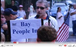 Bay People protesting the intrusion in the neighborhood.