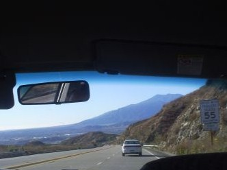 View driving down Highway 18.  This is what it looks like towards the beginning of the road by San Bernardino.