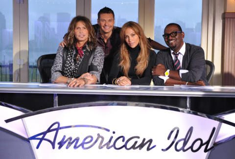 American Idol judges 2011 - Season 10 - Left to right: Front: Judges Steven Tyler, Jennifer Lopez, Randy Jackson. Back: Host Ryan Seacrest