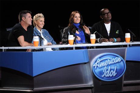 American Idol judges 2010 - Season 9 - from l-r: Simon Cowell, Ellen DeGeneres, Kara DioGuardi, Randy Jackson