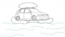 Floating car during floods