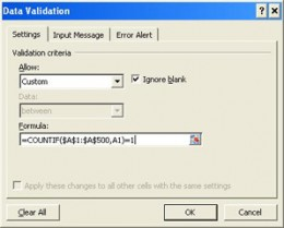 Enter a formula in Data Validation to prevent duplicates in Excel
