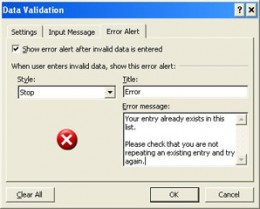 Create a customised error alert
