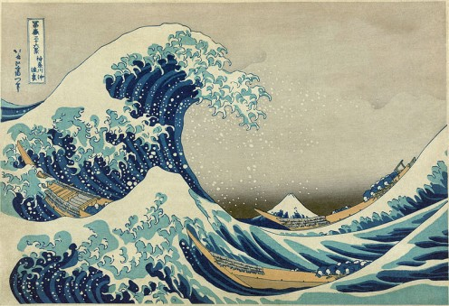 I love this block print from the Thirty-Six Views of Mt. Fuji, but water can be both destructive and life giving.
