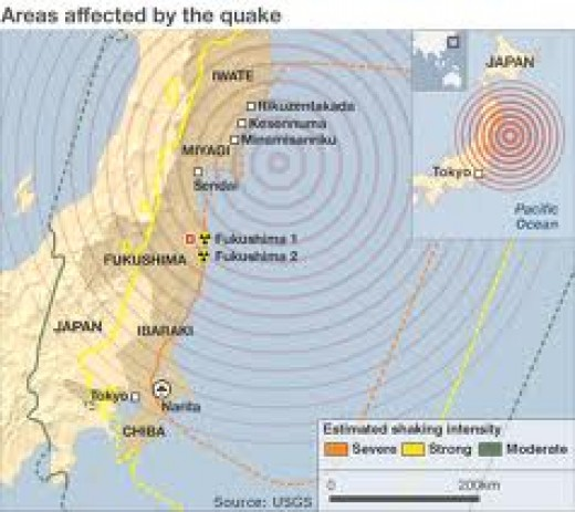 Epicenter of Earthquake in Japan 2011