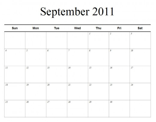 september 2011 calendar with holidays. September 2011 Calendar