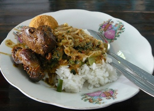 Nasi pecel (Pecel with rice)