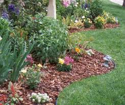 Flower bed with bark mulch