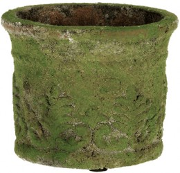 "Create a gorgeous ""aged"" clay planter by painting it with moss from your yard mixed with common ingredients from your kitchen."