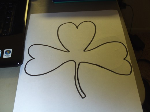 I traced over my shamrock sketch with a black marker.