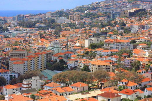 The red-roofed town of Funchal, photographed from the cable car to Monte