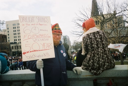 """In the rest of American -- 60 minutes forward. ~~  In Wisconsin -- Fifty Years Backward."" Nice, homemade sign."