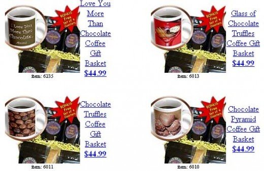 Coffee gift baskets contain 15oz mug, set of 4 coasters, biscotti and 5 blends of gourmet coffee. French Vanilla, Kenya AA, Decaf Colombian Supremo, Chocolate and Italian Roast Espresso. Find more unique coffee gift baskets on 3DROSE.com under Sandy