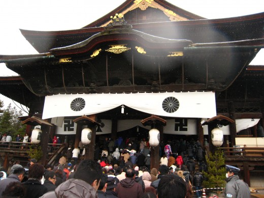 Zenkouji temple, located in Nagano prefeture.  This was taken by me on New Years day, clearly the most chaotic of Japanese temple visiting holidays.