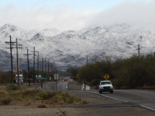 N. Shannon Rd with snow covered Tortolita Mountain Range to north of Tucson, AZ