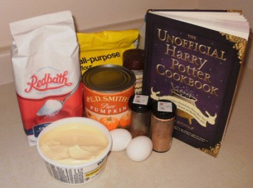 Making pumpkin bread from an easy recipe in the Unofficial Harry Potter Cookbook