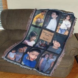 Photo Personalized Nine Panel Throw Blanket