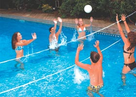 Build a game pool that is deep in the middle providing no unfair advantages for a friendly game of volleyball.  Your swimming pool installer can install sleves in the deck during construction to accommodate a volley ball net.