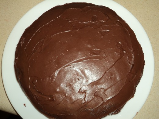 First Layer of Chocolate Frosting