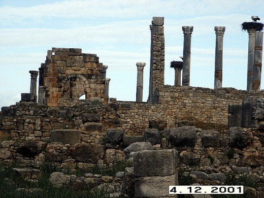 Roman Architecture Present in Volubilis, Morocco.