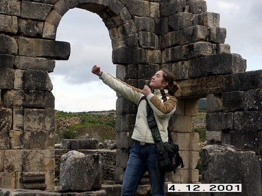 The marble Triumph Arch which dominates the ceremonial road Decumanus Maximus, Volubilis, Morocco.
