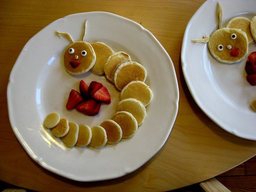 Caterpillar pancakes made by Heidi Kenney, who was inspired by these pancakes.