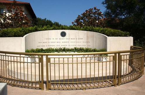 Ronald Reagan Tomb, Monument, and Library in Simi Valley CA, near to and just northwest of Hidden Hills.