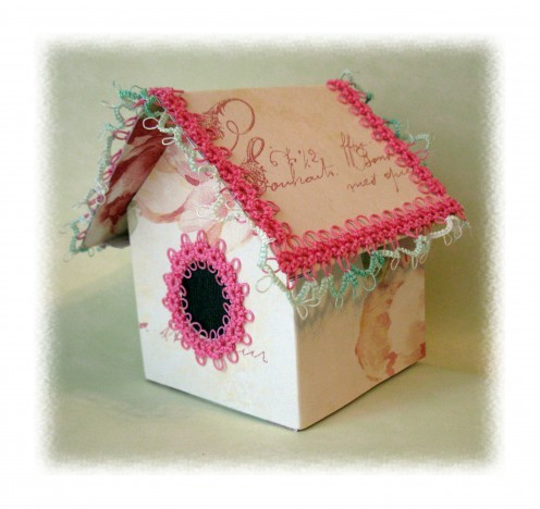 This ones roof opens so a small gift can be placed inside. I had so much fun making this little birdhouse.