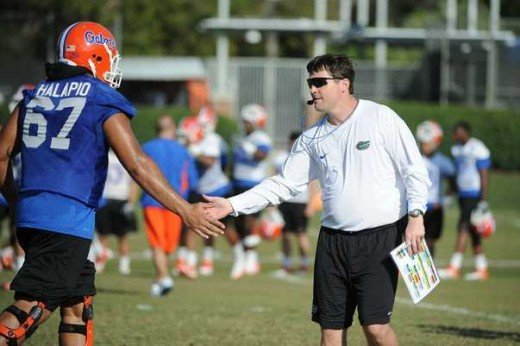 Will Mushacmp the new head coach of the Florida Gators at spring practice on Thursday.