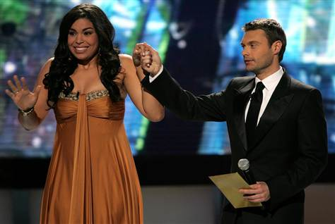Ryan Seacrest with Season 6 winner Jordin Sparks (runner-up Blake Lewis not in the picture)