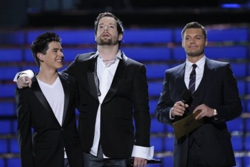 Ryan Seacrest with Season 7 winner David Cook and runner-up David Archuleta
