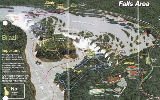Tour Map of Iguazu Falls. Brazil is on the left side and Argentina is in the center and on the right side.