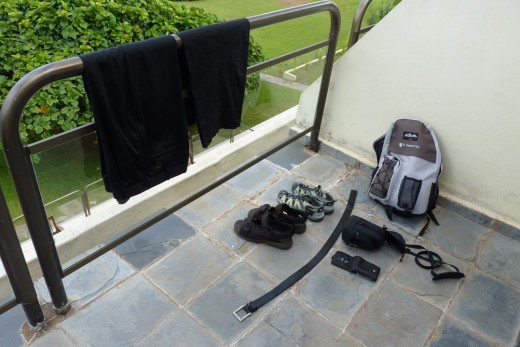 Drying our clothes and other items on our hotel balcony.