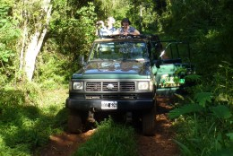 Us on safari in a 4x4 in the jungle beside Iguazu Falls.