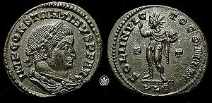 Constantine on the front of the coin,  Sol Invictus on the back