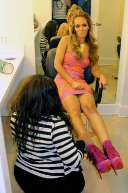 "Basketball Wive's Evelyn Lozada is wearing  Christian Louboutins "" misfit""."