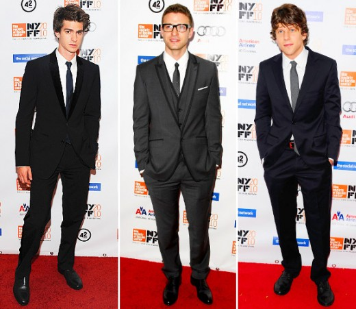 Andrew Garfield (Eduardo Saverin), Justin Timberlake (Sean Parker -- who literally does get in between them) and Jesse Eisenberg (Mark Zuckerberg)