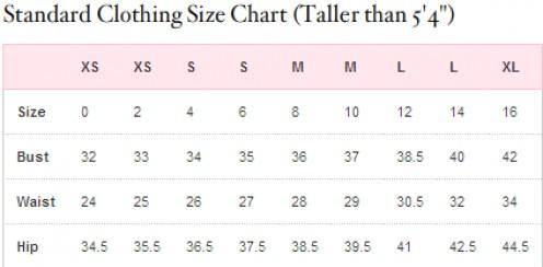 VS size clothing size chart