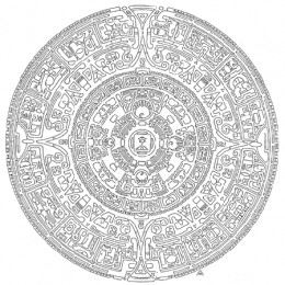 This may be a drawing of the Toltec version of the sun stone calendar, but there is dispute as to its origins.