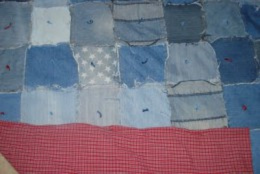 This quilt was made from old blue jeans and a sheet for the backing!