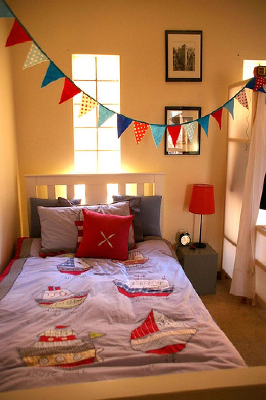 Bunting can be strung like this, or hung against a wall