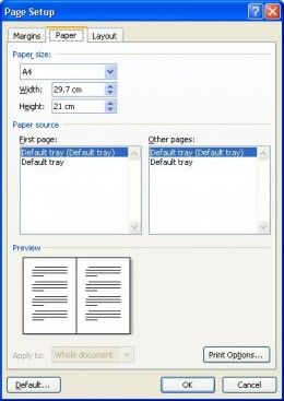 Select the paper size for the document