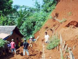 A landslide at a bald slope.