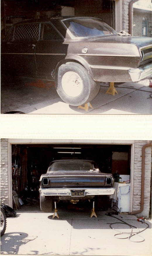 The original paint on the Nova was stripped off to reveal bare metal before a coat of primer was applied.