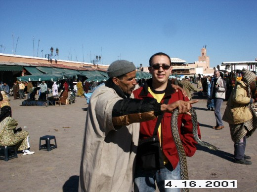 Snake Charmer at Djemaa el-Fna, Marrakesh, Morocco.