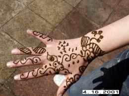 Work of a Henna Artist at Djemaa el-Fna, Marrakesh, Morocco.