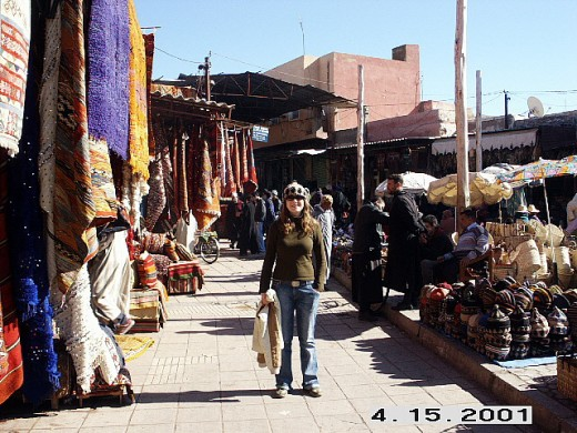 Carpets and Wool Hats, I bought myself one and it is excellent for cold weather, it keeps you very warm. Marrakesh, Morocco.