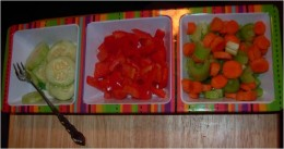 Healthy Snacks of Carrots, Celery, Red Peppers, and Organic Cucumber